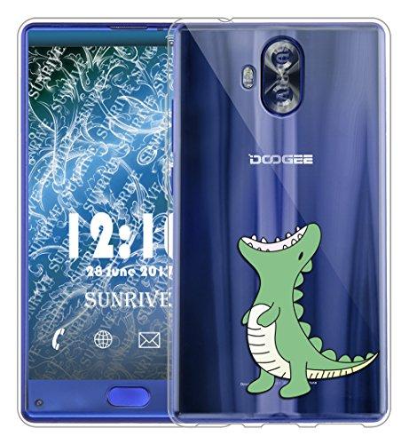 Sunrive Für DOOGEE Mix Lite Hülle Silikon, Transparent Handyhülle Schutzhülle Etui Hülle Backcover für DOOGEE Mix Lite 5,2 Zoll(TPU Dinosaurier)+Gratis Universal Eingabestift