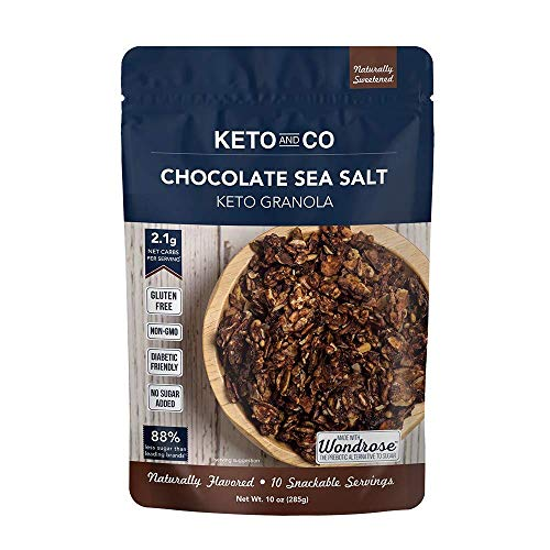 Keto Chocolate Sea Salt Granola by Keto and Co   Just 2.1g Net Carbs Per Serving   Gluten Free, Low Carb, Diabetic Friendly, Naturally Sweetened, No Added Sugar, Non-GMO   (10 Servings)