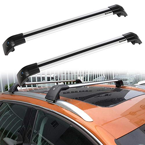 ROADFAR Roof Rack Aluminum Top Rail Carries Luggage Carrier Fit for 2016 Lincoln MKX,2005-2017 Suzuki Grand Vitara,2014-2016 Toyota Highlander,2016 Volvo XC90 Baggage Rail Crossbars