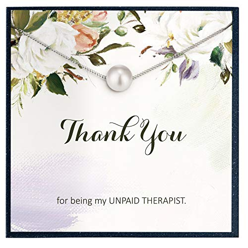 Grace of Pearl Collar con texto en inglés «Thank You for Being My Unpaid Therapista» para regalo de hermana para regalo galentino para joyería de amistad.