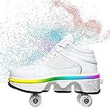 YXRPK Niñas Niño LED Luminoso Deformación Zapatos con Ruedas Ajustable Cuatro Ruedas Skate Patines De Ruedas Unisex Calzado de Deportes de Exterior