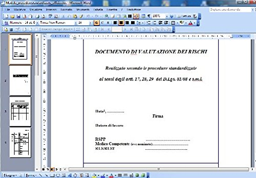 Modello documento valutazione rischi procedure standardizzate - UFFICIO