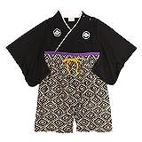 袴 ロンパース 男の子 ベビー 赤ちゃん はかま 和装 カバーオール フォーマル TM002 ブラック 70cm