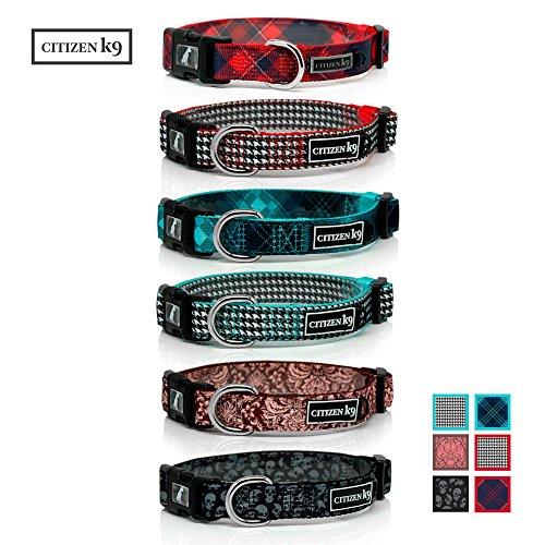 Buju Citizen K9 Dog Collar – Medium Red Plaid Polyester Collars for...