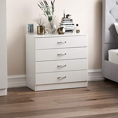 Vida Designs biała komoda, 4 szuflady z metalowymi uchwytami i bieżnikami, unikalne wsparcie szuflad przeciw łukowaniu, meble do sypialni Riano