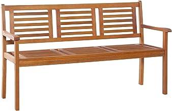 vidaXL Solid Eucalyptus Wood 3-Seater Garden Bench Weather Resistant Outdoor Lounge Seat Backyard Armchair Patio Furniture...