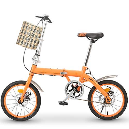 Bicicletta Pieghevole Adulto Leggera, 16in Studente Car Bike Leggero ad Alta Acciaio al Carbonio Telaio di Bicicletta Pieghevole Commuter Donne Biciclette (Color : Orange)