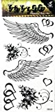 PP TATTOO 1 Sheet Heart Flower Angel Wings Fashionable Henna Temporary Tattoos Make up Neck Shoulder Upper arm Thigh Waterproof Stickers for Men Women Sexy Body Art
