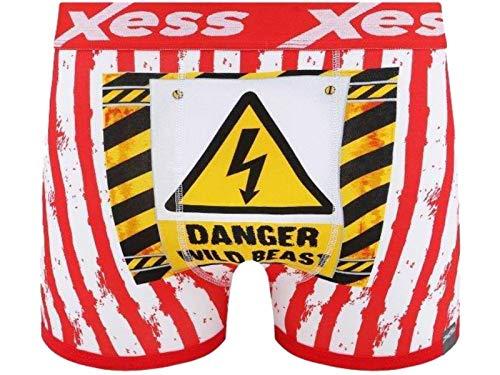 XESS Herren Jungen Boxershorts aus Baumwolle, Gr. S, M, L und XL Gr. M, Danger Wild Beast - Rot