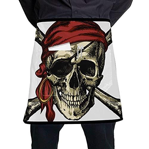 Divertido delantal de camarera con pañuelo de calavera pirata y tibias cruzadas y un pendiente Divertido delantal de camarera con bolsillo grande, unisex para cocina, elaboración de barbacoa, dibujo
