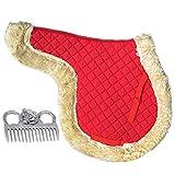 Hmpet Almohadillas para Sillas de Caballo Almohadilla para Doma Suave Sin Espalda Equipamiento para Sillas de Equitación Accesorios Ecuestres Almohadillas para Montar a Caballo,Rojo