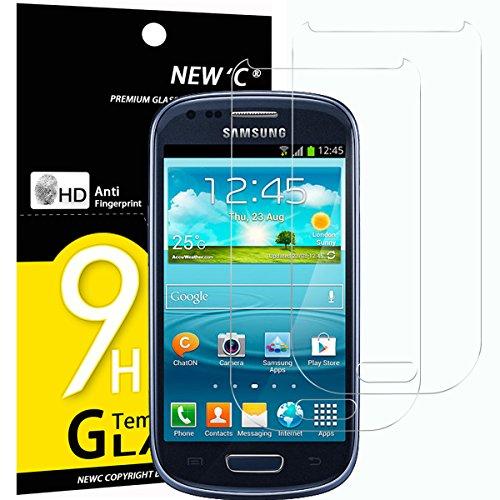 NEW'C 2 Stück, PanzerglasFolie Schutzfolie für Samsung Galaxy S3 Mini (GT-I8190), Frei von Kratzern Fingabdrücken und Öl, 9H Härte, HD Displayschutzfolie, 0.33mm Ultra-klar, Ultrabeständig