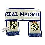 NEW Bufanda de Tela Real Madrid - Blanca/Azul con Escudo Bordado - Producto Oficial Real Madrid C.F