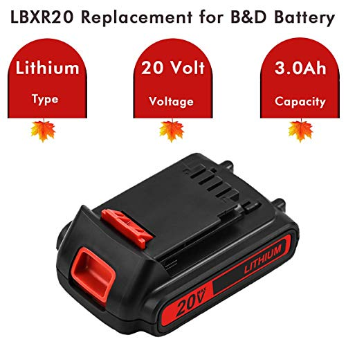 2Packs 3.0Ah LBXR20 Lithium Replacement Battery Compatible with Black and Decker 20V Max LB20 LBX20 LST220 LBXR2020 LB2X4020 Cordless Power Tools