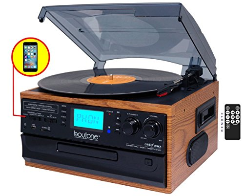 Boytone BT-21DJW-C, 3 Speed Turntable Ability to Convert Vinyl Record, CD, Cassette, AM/FM Radio into MP3 Files Format Without a Computer, USB/SD Slot, Auxiliary, Headphone Jack, 2 Built in Speaker.
