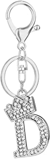 Initial Letter Crown Keychain Alloy 26 Alphabet Rhinestones Key Ring Bling Bling Pendant for Handbag Purse Charm(D, Silver Tone Letter)