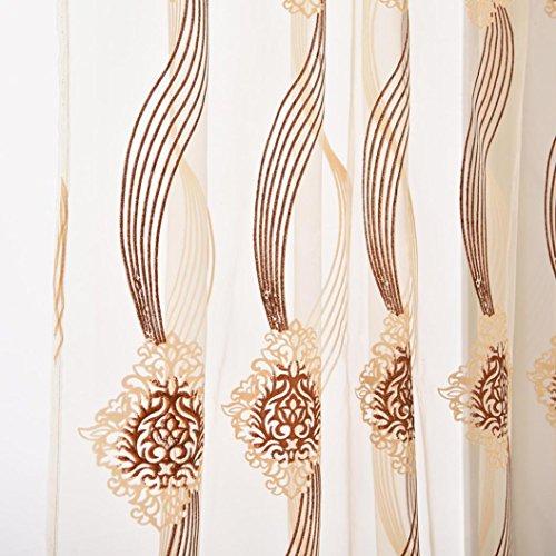 Rosennie Traditionelles ChinesischTüllvorhänge Drape Valance 3D-Aufkleber Linkes und rechtes Biparting offen Blackout Erkerfenster 1 Panel Stoff (B, 200cm x 100cm)