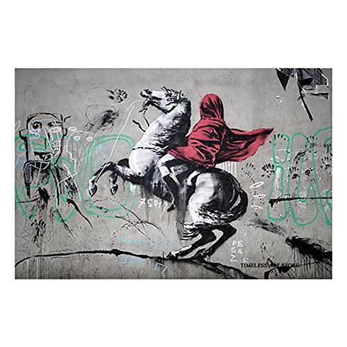 Kemeinuo Cuadros Modernos Banksy Napoleon cruzando los Alpes Lienzo Pared Arte Carteles e Impresiones imágenes Graffiti Street Art imágenes 60x90cm