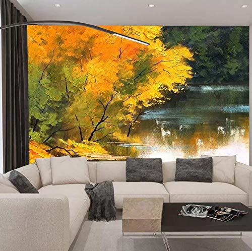 Nordic Esthetische Persoonlijkheid Forest Creek Landschap Olieverfschilderij Kamer Woonkamer TV Achtergrond Papier Muur Schilderen 200 x 150 cm.