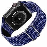 Solo Loop compatibile con cinturino Apple Watch 42mm 44mm per uomo donna, cinturino di ricambio sportivo in nylon elastico intrecciato per serie IWatch 6/5/4/3/2/1 / SE, Midnight Blue 42 mm 44 mm