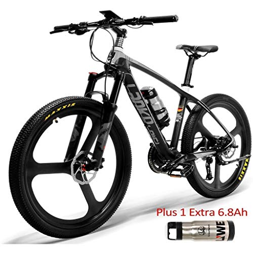 26'' Electric Bike Carbon Fiber Frame 300W Mountain Bikes Torque Sensor System Oil and Gas Lockable Suspension Fork City Adult Bicycle E-Bike (Color : Black White Plus 1 Extra 6.8Ah)
