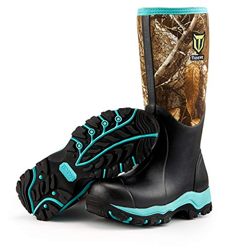TideWe Hunting Boot for Women, Insulated Waterproof Durable 15' Women's Hunting Boot, 6mm Neoprene and Rubber Outdoor Boot Realtree Edge Camo(Green Size 9)