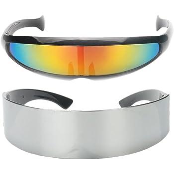 2 teilig Futuristische Verspiegelte Sonnenbrille Schmale