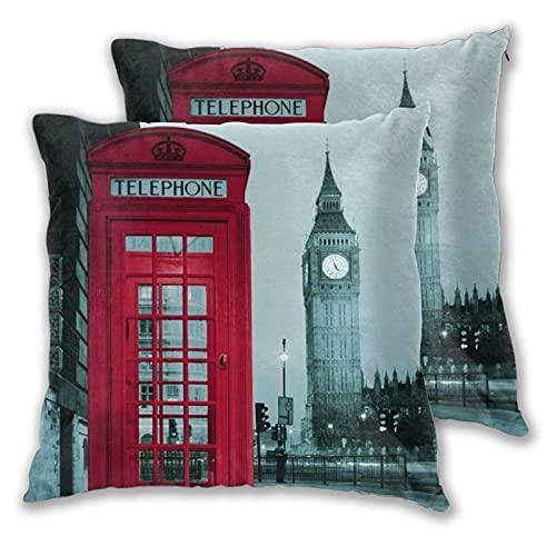 VINISATH 2pcs Fundas de Cojín,Reino Unido británico London City Big Ben Design,Cuadrado Suave Funda de Almohada Decorativa Sofá Sillas Cama Decoración para Hogar,55x55cm