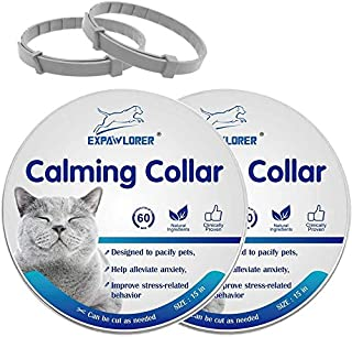 EXPAWLORER 2 Pcs Calming Collar for Cats - Relieve Reduce Anxiety Your Pets, Adjustable Natural Pheromones Formula, Long L...