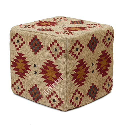 iinfinize Ottomanen-Bezug aus Wolle, Jute, Vintage-Pouf, Heimdekoration, Kelim-Bezug, Fußhocker, dekorativer Pouf-Bezug, handgefertigter Pouf-Bezug