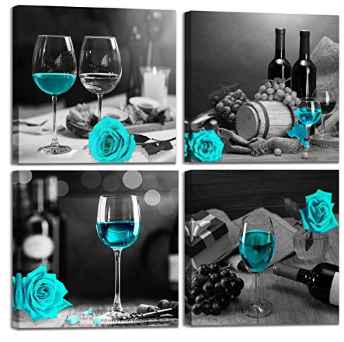 kitchen Wall-Art - Wine Wall Decor For Bedroom Women Black And White Wall Pictures Modern Art Decorations For Living Room - Teal Rose Artwork - Gray Cask Canvas 14x14 Inches x4 Framed