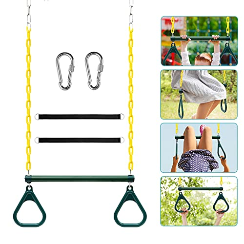 Newtion 18' Trapeze Swing Bar with Rings, Monkey Bars for Kids with 48' Coated Chains Swing Set...