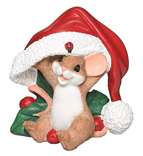 Roman - Charming Tails Collection, Mouse in Santa Hat Figure, 3.5' H, Resin and Stone, Durable, Collectibles, Cute Decorative Figurine, Home, Decor