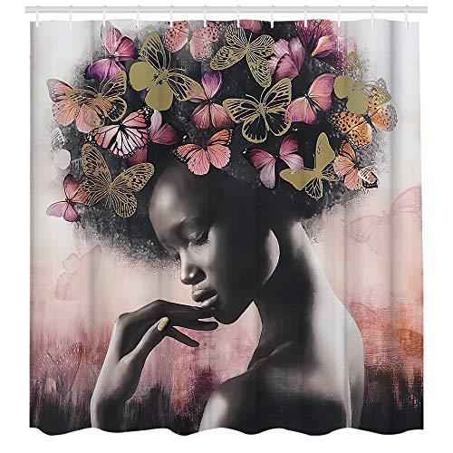 African American Woman Hair with Butterfly Duschvorhang Afro Black Girl Duschvorhang für Badezimmer mit Haken 183 x 183 cm
