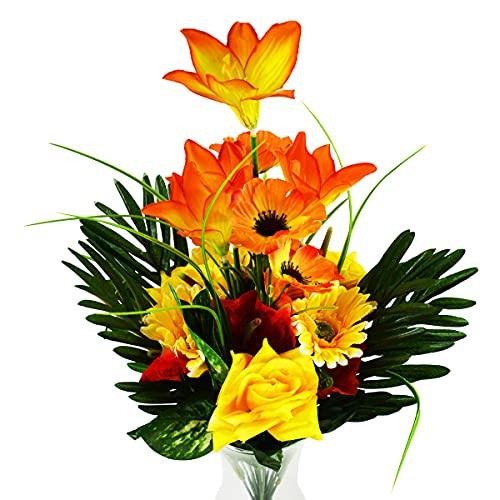 Rabbihom GRANDE 70 × 45 cm Lily crisantemo Fiori Artificiali Fiori Finti Realistica Plastica Bouquet Pianta Artificiale Interno ed Esterno Casa Giardino Nozze Vaso Cimitero muro Decorazione