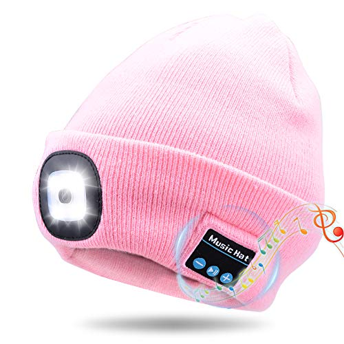 Kaishengyuan Wireless Bluetooth Music Mütze, Wintermütze mit Licht, 4 LED Beanie Hut USB Aufladbare Caps für Männer Frauen warme Strickmütze für Wintersport im Freien Laufen Skifahren (Rosa)