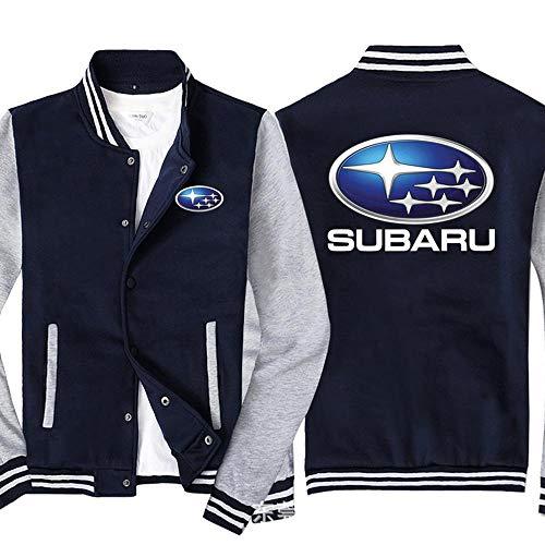 Männer Pullover Jacke Subaru Printed Sweatshirt Baseball-Trikot Langarm-Zip Trainingsjacken - Teen Gift Blue Gray- L