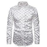 Nueva Camisa de Primavera para Hombre, Tela de Plumas Tridimensional Hecha a Mano, con Cuello Henry, Camisa de Manga Larga XL, Blanco