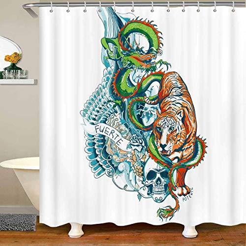 Cortina de baño colorida de tigre con diseño de calavera de azúcar para baño, cortina de ducha floral para niños, adultos, bohemio, tríptico, arte psicodélico, impermeable, 180 x 200 cm