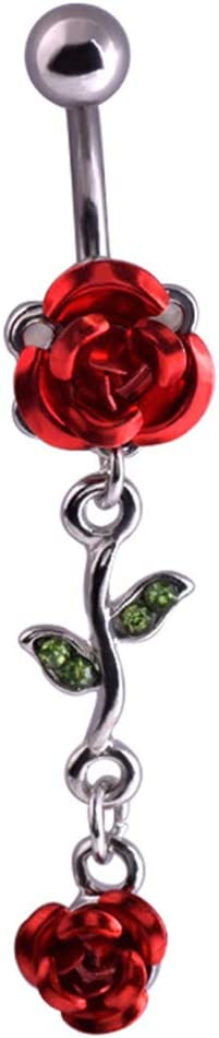 YuFanKits Belly Button Navel Ring 1Pc Women Dual Rose Flower Body Piercing Jewelry Gift for Summer Beach, Swimming Pool Party Red