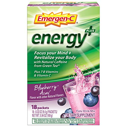 Emergen-C Energy+, With B Vitamins, Vitamin C And Natural Caffeine From Green Tea (18 Count, Blueberry Acai Flavor) Dietary Supplement Drink Mix, 0.33 Ounce Powder Packets