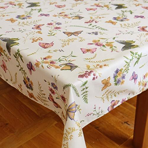 Kamaca Serie Schmetterlinge AUF DER BLUMENWIESE in Creme mit zarten Pastelltönen EIN Schmuckstück in jedem Raum (Tischdecke eckig 130x225 cm)