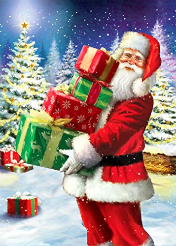 DIY 5D Diamond Painting Christmas for Adult by Number Kits Full Drill Diamond Embroidery Santa Claus Picture Arts Craft for Home Wall Decor (ZSH012)