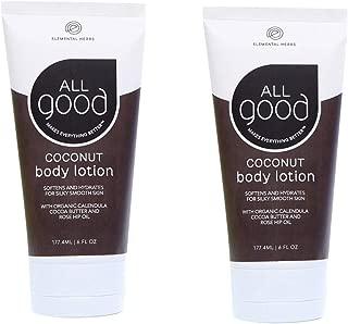 All Good Body Lotion w/Essential Oils - Moisturizing Organic Calendula, Cocoa Butter, Coconut & Rose Hip Oil - Non GMO - Vegan (2-Pack)(Coconut)