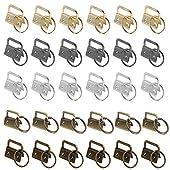 NACTECH 30 Stück Schlüsselband Rohlinge Klemmschließeanhänger mit Schlüsselring für ca. 25 mm breites Gurtband Rohlinge Kupfer (Silber, Schwarz, Gold, Grünbronze, Bronze)