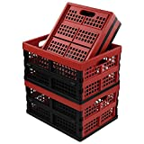 Ikando Cajas de Almacenamiento de Plástico Plegables, Contenedor de Almacenamiento Plegable, Negro Rojo, Paquete de 4