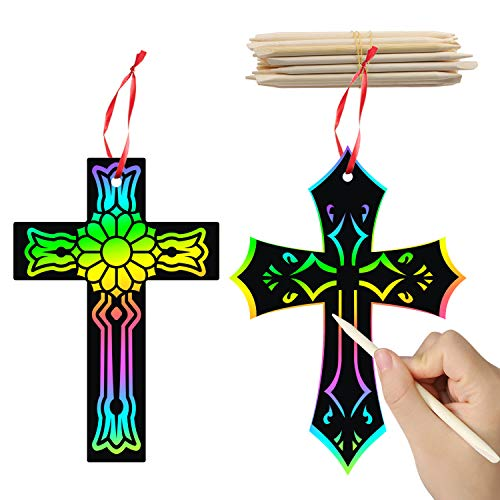WATINC 60Pcs Scratch Cross Ornaments, Magic Art Rainbow Color Craft Kit for Kids Magic Scratch Party Favors, Scratch Paper Hanging Tags, Birthday Gifts for Kids, DIY Art Craft Kit for Boys Girls
