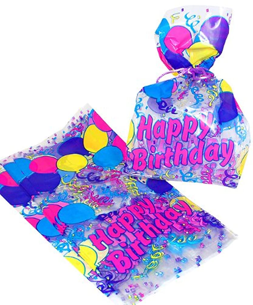Fun Express Birthday Themed Cellophane Gift Treat Bags - 12 Pieces
