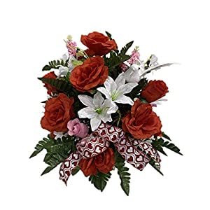 Red, Pink, White Roses Valentine Cemetery Flower Arrangement, Headstone Vase Insert, Grave, Cone Insert, Tombstone vase Arrangement, Cemetery Flowers SV4046