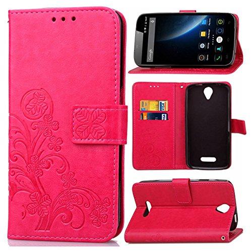 Schutzhülle Für DOOGEE X6 / X6 Pro , pinlu® Handyhülle Hohe Qualität PU Ledertasche Brieftasche Mit Stand Function Innenschlitzen Design Glücklich Klee Muster Rot